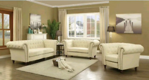 NEW Renhold Collection 3 Piece Tufted Chesterfield Sofa Set