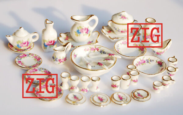 1/12 Dollhouse Miniature Porcelaine ROSE Dinnerware Tea Cup Dish Plate Set 40PCS