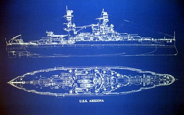 "Ships Plan Battleship USS Arizona WW2 Pearl Harbor Blueprint 20""x24"" (003)"
