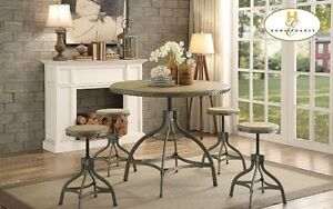 Country chic round table w/4 stools, ADJUSTABLE HEIGHT, new