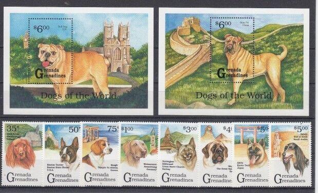 D. Grenada Grenadinen  1664 - 71 + Block 165/66  Hunde   **  (mnh)