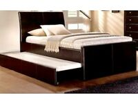 Leather bed frame and memory foam mattress
