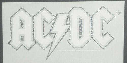 "AC/DC Logo Iron On Heat Transfer White & Silver Glitter 6""x11"" Rock Band"