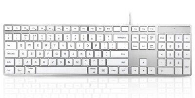 Accuratus 301 Mac USB Keyboard Full Size Slim Multimedia UK QWERTY Layout White