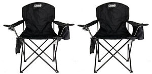 (2) COLEMAN Camping Outdoor Oversized Quad Chairs w/ Cooler & Cup Holder - Black