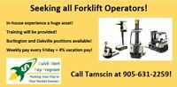 ALL FORKLIFT OPERATORS WANTED $15.50/hr - $18.50/hr!