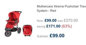 Mothercare Xtreme Travel System brand new