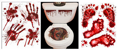 HALLOWEEN TOILET SEAT GRABBER FOOT HAND PRINT SCARY FANCY DRESS HORROR PARTY