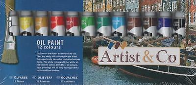 Öl Malfarben 12 Tuben Beste Qualität für Leinwand & Papier