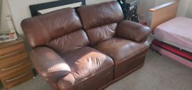 Leather Two seater recliner brown sofa £30