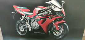 Large Canvas Black and Red Honda Motorcycle