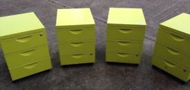 Office Filing Drawers Cabinets x Set of Four Lime Green Funky!! Free Local Delivery!!