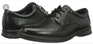 Rockport brand men's black leather plaintoe dress shoes-$50