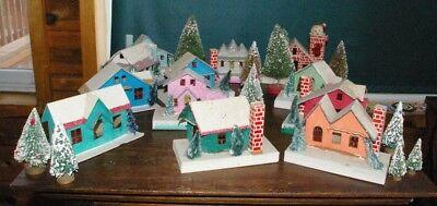 Vintage Japan Christmas Glitter Paper Mache 12 Houses 10 bottle trees Fun Lot!