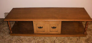 COFFEE TABLE + END TABLE SET MAPLE COLOUR TONS OF STORAGE