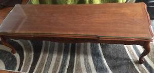 Mid Century Glass-top Wood  Coffee Table