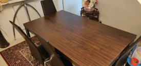 Dining Table Walnut Effect with 4 Chairs