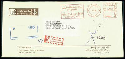 """EGYPT 1987 R-BRIEF FREISTEMPEL R-ZETTEL """"EINSCHREIBEN AUS DEM AUSLAND"""" z2297"""
