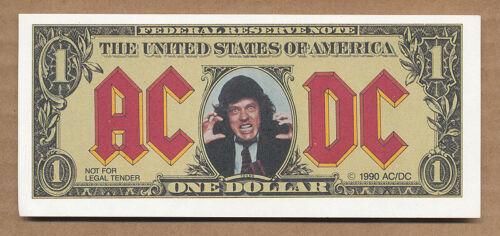 AC/DC Moneytalks RARE promo faux one dollar bill 1990