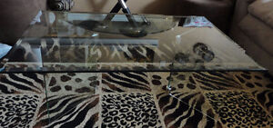 Large Bevelled glass top and base coffee table London Ontario image 3