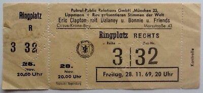Eric Clapton Delaney & Bonnie Original Unused Concert Ticket Munich 1969