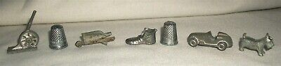 Vintage Metal Miniature Toy Monopoly Game Piece Lot Crackerjack Car Dog Thimble