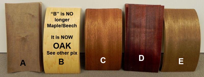 Wood Micro Veneer - Lot - Assorted Dyed Mahogany -- Self Adhesive
