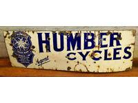 Humber cycles enamel sign early advertising decor mancave garage metal vintage antique motor