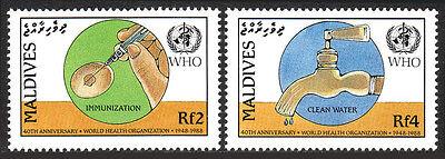 Maldives 1282-1283, MNH. WHO, 40th anniv. Immunization, Clean water, 1988