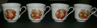 4 Porcelain Tea Cups Bareuther Waldsassen Bavaria Germany Fruit Nut Theme Gilt