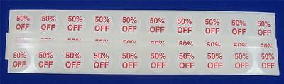 100 Self-adhesive 50 Off Labels 34 Stickers Tags Retail Store Supplies