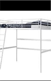 Ikea double loft bed frame only excellent space saver has desk top.