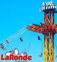 3 billets pour La Ronde à Montréal à 45$ chacun (saison 2015)