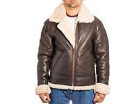 ORIGINAL SHEARLING Pilot brown leather / cream sheepsin jacket.