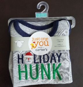 Carters Holiday Hunk Long Sleeve Baby Bodysuit 3Mo Brand New