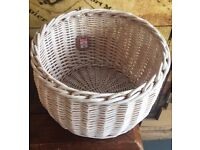 A solid wooden shabby chic basket