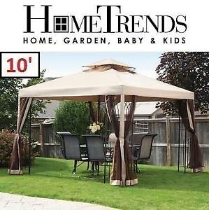 NEW HOMETRENDS 10' GAZEBO L-GZ836PST 187795681 EASY SET