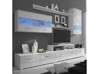 White 5 piece shelves, cabinets and TV stand (no lower unit)