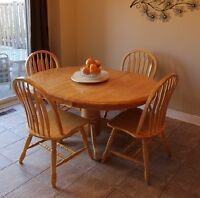 Moving sale! Dinner table set - table w 4 chairs, honey oak