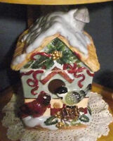 BIRDHOUSE WINTER/HOLIDAY COOKIE JAR
