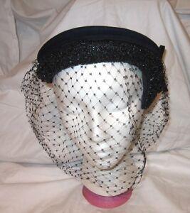 Vintage-York-Merrimac-Fur-Felt-Ladies-Flapper-Style-Veil-Hat-With-Bead-Trim-Navy