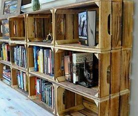 Wooden apple crates Vintage Crate Box Storage
