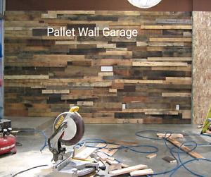 Reclaimed pallet wood wall DIY accent wood wall