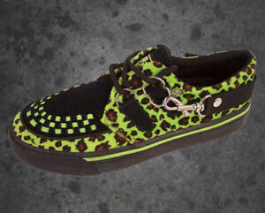 RARE TUK GREEN LEOPARD PUNK CREEPER SHOES 9 AND 10