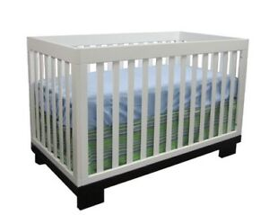 Solid wooden convertible CRIB with mattress, bedding, sheets
