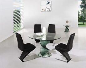 Reduced! Glass twist table and chairs