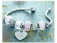 Heart charm personalised bracelet