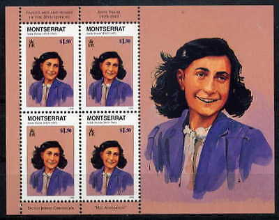 MONTSERRAT 1998 ANNE FRANK - JUDAICA SOUVENIR SHEET OF 4 STAMPS. - $11.00 VALUE!