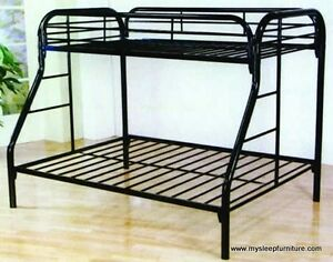 WHITE FULL METAL BUNK BED TWIN OVER DOUBLE