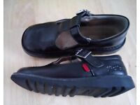 Girls Black Leather Kicker T Bar Shoes Size 13